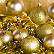 Golden Christmas decorations — 图库照片