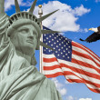 Стоковое фото: AmericFlag, flying bald Eagle,statue of liberty montage