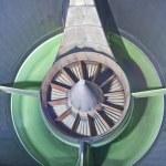 Close-up of jet engine turbine blades — Stock Photo #14769735