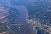 Aerial view of Alton Illinois and the clark bridge — Stock Photo