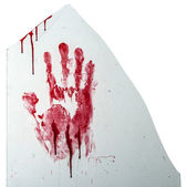 Bloody hand-print on broken glass isolated on white — Stock Photo