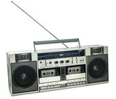 Retro ghetto blaster isolated on white — Stok fotoğraf
