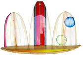 Satz von anderen farbe surfbretter — Stockfoto