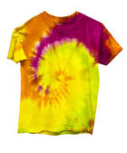 Tie dyed shirt isolated on white — 图库照片