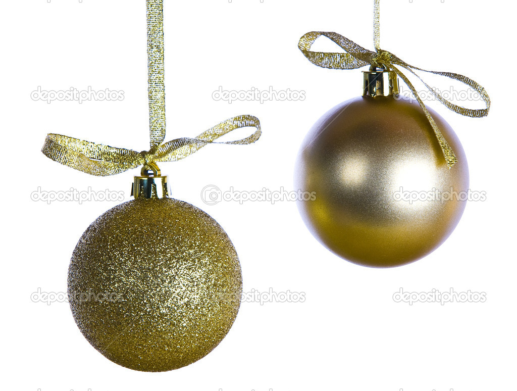 Golden Christmas decorations isolated on white — Stock Photo #14763449