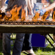 Grill in flames — Stock Photo