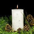 Pine cone and christmas greens and burning candle — Stock Photo
