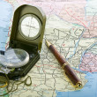 Compass on the map background — Stock Photo