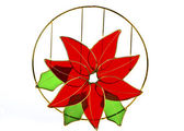 Christmas Flower, Red Poinsettias with green leaves — Photo