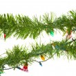 String of christmas lights isolated on white — 图库照片