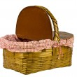 A classic picnic basket with a red gingham liner on a white background — Stock Photo #14932203