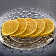 Lemon slices served in the plate — Stok fotoğraf