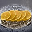 Lemon slices served in the plate — Stockfoto