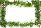 Noel ışıkları üzerinde beyaz izole çelenk içinde — Stok fotoğraf