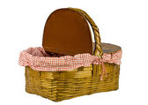 A classic picnic basket with a red gingham liner on a white background — Stock Photo