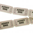 Vintage admit one tickets close up — Stock Photo #15538881