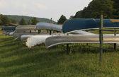 Canoe overturned — Stock Photo