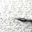 Stock Photo: Close up of fountain pen on old letter