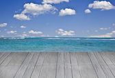 Wooden terrace with a sea view — Stock Photo