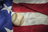 Major league baseball with American flag — Stock Photo