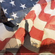 Стоковое фото: AmericFlag, flying bald Eagle,statue of liberty
