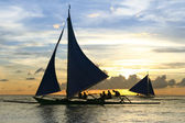 Paraw outrigger sunset tour boracay — Stock Photo