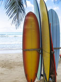 Surf boards on beach kuta bali — Stock Photo