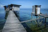 Outdoor toilet stilt house mabul island — Stock Photo