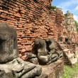 Ayuthaya buddha statues temple thailand - Stock Photo