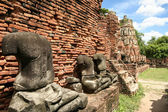 Ayuthaya buddha statues temple thailand — Stock Photo