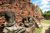 Ayuthaya estatuas de buddha templo tailandia — Foto de Stock