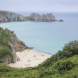 Porthcurno beach cornwall coast uk — Stock Photo