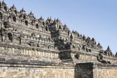 Borobudur pyramid temple walls java — Stock Photo