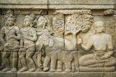 Borobudur ancient wall art indonesia — Stock Photo