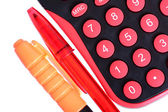 Calculator and pens — Stock fotografie