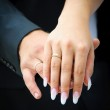 Two wedding hands. endearment . Bride and groom — Stock Photo #19210033