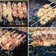 Many roast meat pieces on skewer. shish kebab cooking process — Stock Photo #25217439