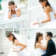Stock Photo: Different smiles happy brides in a white dress