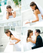 Different smiles happy brides in a white dress — Stock Photo