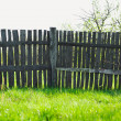 Old rural wooden fence near freshness green grass — Stock Photo