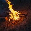High flame of a bonfire. Night scene — Stock Photo