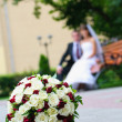 Elegant wedding bouquet with many roses on blur newlywed backgro — Stock Photo #27558251