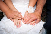 Parents blessing and supporting for bride in a wedding dress — Stock Photo