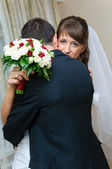 First meeting bride and groom for wedding day. Love embrace — Stock Photo