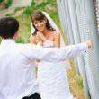 Happy smile bride and groom to look at each other — Stock Photo