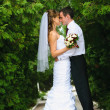 Wedding couple standing, embrace and to look at each other — Stock Photo #28310063