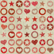 Many shapes of heart, stars and circle on grunge backgrounds — Stock Photo