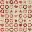Many shapes of heart, stars and circle on grunge backgrounds — Stock Photo #34072471