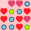 Many shapes of heart, flowers and  peace symbol — Stock Photo