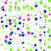 Many multicolored hearts background of Valentine's day. Love tex — Stock Photo